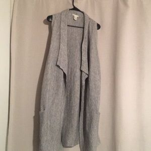 Gray and white long sweater vest